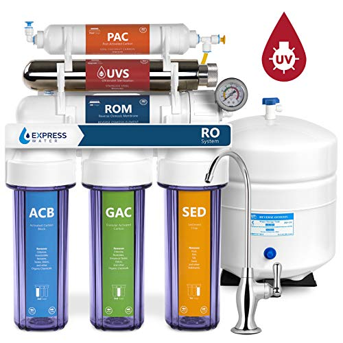 Express Water Ultraviolet Reverse Osmosis Water Filtration System - 6 Stage RO UV Water Sterilizer with Faucet and Tank - UV Under Sink Water Filter - 100 GPD with Clear Housing