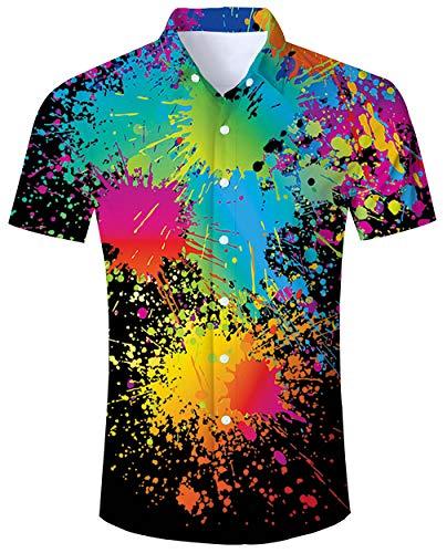 Bright Buttons (ALISISTER Retro Hawaiian Shirt Men Adult Tropical Aloha Blouse 80S Short Sleeve Button Dress Collar Summer Beachwear Holidy Apparel XXL)