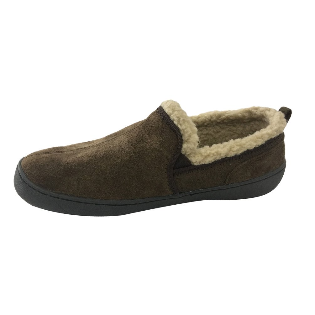 Real Fancy Men's Suede Fleece Lined Moccasin Slipper House Slippers for Indoor and Outdoor