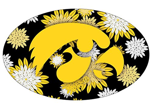 IOWA HAWKEYES FLORAL DESIGN OVAL DECAL-IOWA STICKER-NEW FOR 2016