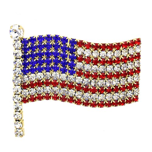 Soulbreezecollection American Flag Star USA Pin Brooch 4th of July Independence Day Jewelry (Large-GLD) ()