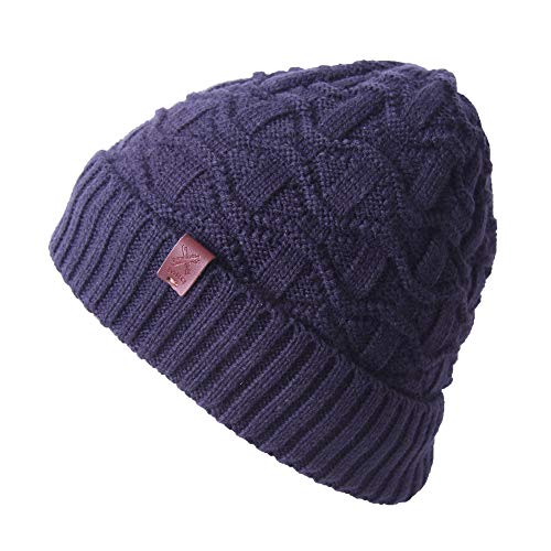 Thick Cable Knit - Cable Knit Beanie - Thick, Soft & Warm Chunky Beanie Hats for Women & Men - Serious Beanies (Navy Blue4)