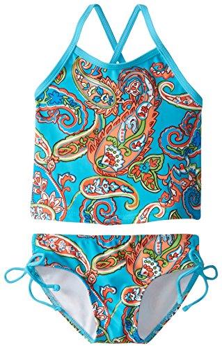 Kanu Surf Girls' Melanie Beach Sport 2-Piece Banded Tankini Swimsuit, Caroline Blue Paisley, 12 Months