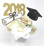 Double Sided Graduation 2018 Centerpiece Sticks Set of 3 Graduation Hat Diploma Year Floral Picks Glitter and Foil (Gold)