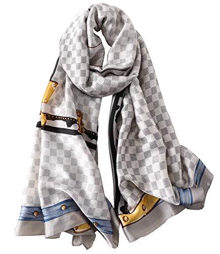 NUWEERIR Womens 100% Mulberry Silk Scarf Long Satin Scarf Fashion Designer Scarf Lightweight Wraps (19)