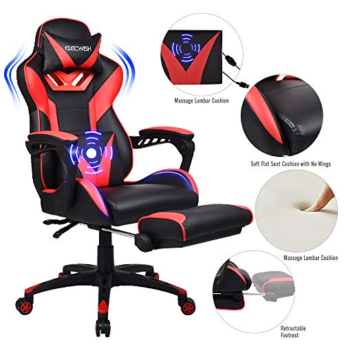 FULLWATT Gaming Chair with Footrest PU Leather Video Game Chairs for Adult 150 Degree Adjustable Swivel Executive Computer Gaming Chairs Ergonomic Style Swivel Chair w/Headrest &Lumbar Support (Red)