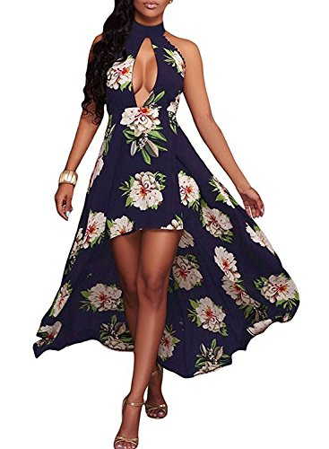 (ZESICA Women's Halter Neck Floral Printed High Low Beach Party Maxi)