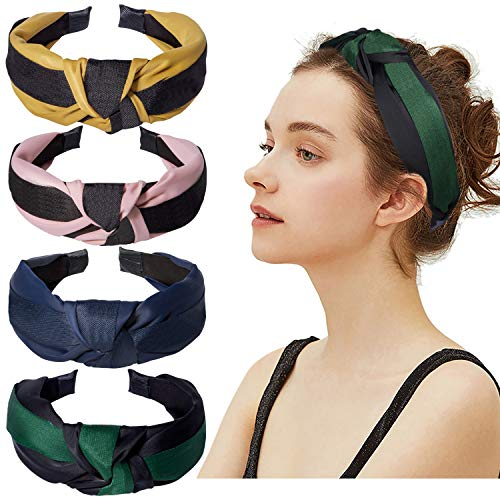 4 Pack Knotted Headbands for Women Wide Stripe Turban Headbands Cute Hair Band Cross Knot Hair Hoops with Cloth Wrapped