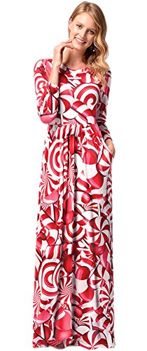 For G and PL Christmas Women Party Gifts Cosplay Xmas Santa Claus Printed Longsleeve Flared Maxi Dress Xmas Candy 2XL -