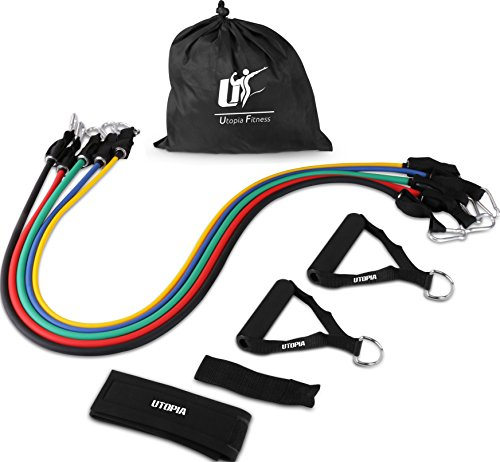 Utopia Fitness Resistance Band 5 Set for Home, Gym and Outdoor Workouts with Door Anchor, Ankle Strap & Mesh Carrier - Athletic and Handy