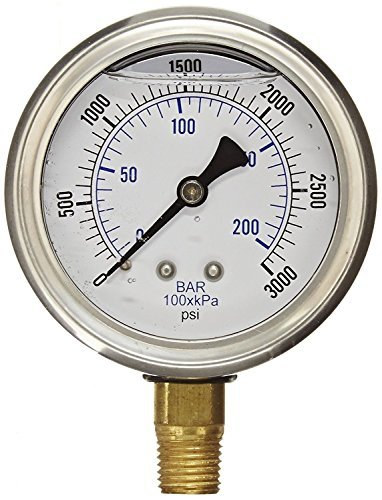 NEW STAINLESS STEEL LIQUID FILLED PRESSURE GAUGE WOG WATER OIL GAS 0 to 3000 PSI LOWER MOUNT 0-3000 PSI 1/4