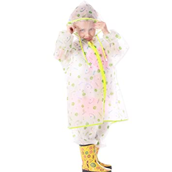 Impermeable niño sistema del muchacho de la muchacha Capa de lluvia del impermeable Pantalones Split a