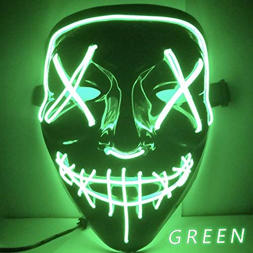 Kangkang Halloween Mask LED Light up Funny Masks The Purge Election Year Great Festival Cosplay Costume Supplies Party Masks Glow in Dark (Green)