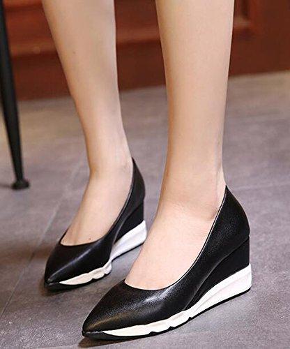 Idifu Womens Dressy A Punta Corta Con Tacchi Vertiginosi Slip On Pumps Shoes Neri