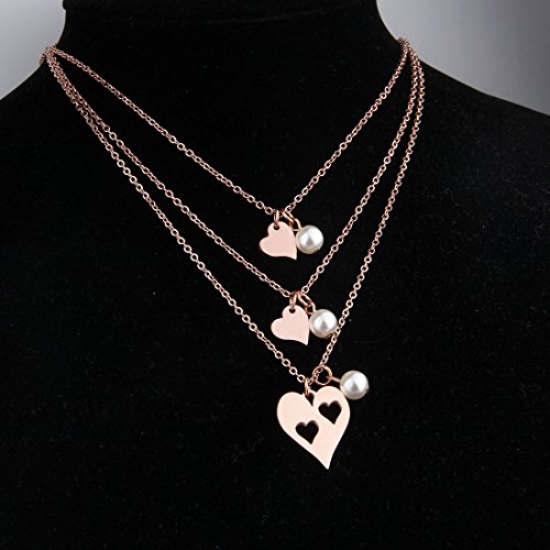 BNQL Rose Gold Mother Daughter Heart Cutout Necklace Set Pearl (Cutout 2 Heart Necklace) by BNQL (Image #4)