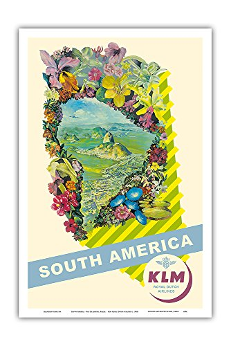 Pacifica Island Art South America - Rio De Janeiro, Brazil - KLM Royal Dutch Airlines - Vintage Airline Travel Poster c. 1940s - Master Art Print - 12in x 18in