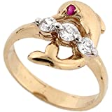 14k Yellow Gold Pretty Dolphin CZ Ring