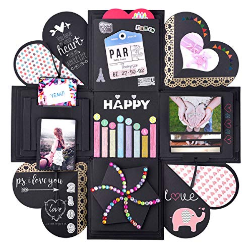 Explosion Gift Box Assembled Scrapbook Photo Album Box - Creative DIY Gift Ideas for Engagement, Wedding, Anniversary, Birthday, Valentine's Day, Proposal, Family (Black) -