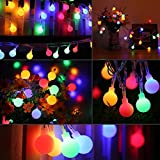 Globe String Lights,WONFAST 10M 80 LED Colorful Battery Operated Fairy String Lights Starry Ball Decorative Lights for Christmas Party Wedding Indoor/Outdoor Lighting