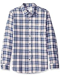 Men's Slim-Fit Long-Sleeve Plaid Flannel Shirt