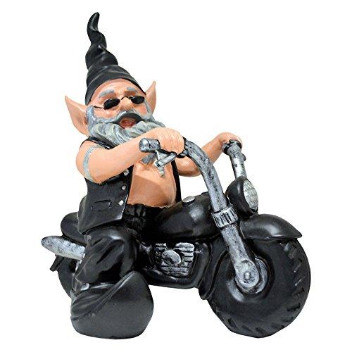 - Zeckos `Gnoschitt Rides Again` Biker Garden Gnome on Motorcycle Statue 12 Inch