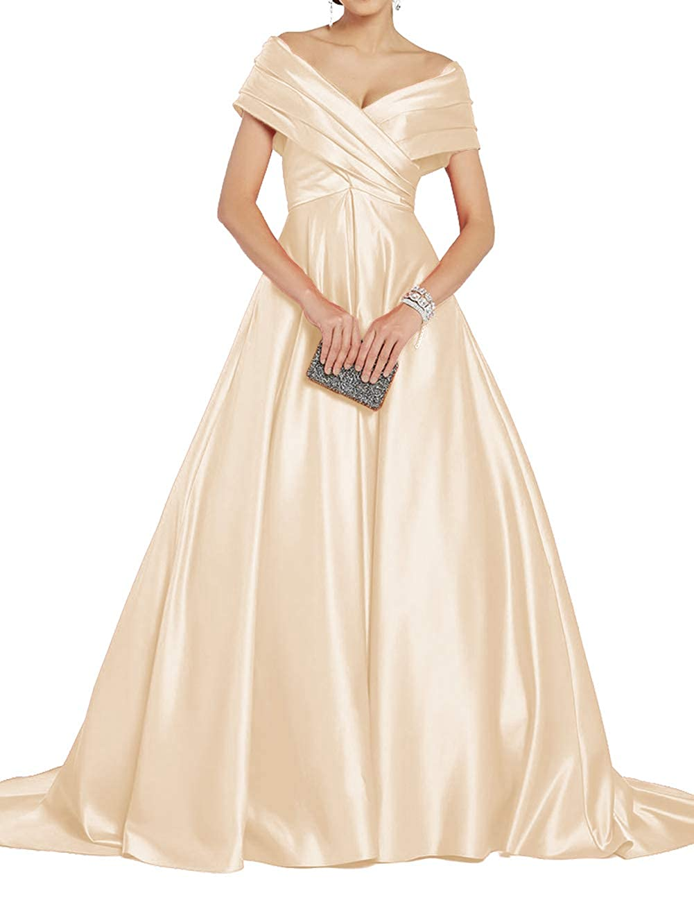 Champagne Uther Off Shoulder Prom Dresses Long ALine Satin Ball Gowns for Women Formal Evening