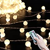 #9: 50 Leds 16 Feet Globe LED String Lights with Remote Control Timer Battery Operated Indoor Outdoor Decorative Lights for Bedroom,Patio,Dorm Room,Wedding,Christmas Party (16ft string lights with remote)