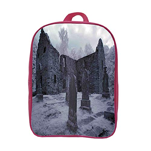 iPrint Children's Backpacks Schoolbag Strong Durability,Gothic Decor,Old Gothic Cemetery Church Tomb Tombstone Mysticism Spooky Forest Art,Graph Customization Design. by iPrint