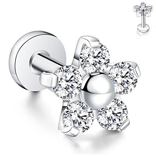 - GAGABODY 16g 1/4''(6mm) G23 Titanium Labret Studs Cartilage Earring Flat Back Flower Top Prong Set CZ
