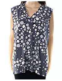 Anne Klein Womens Printed Pleated Casual Top