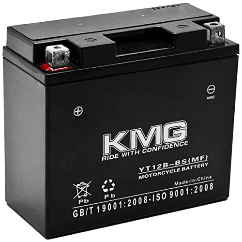KMG Yamaha 650 XVS650 V-Star All 1998-2011 YT12B-BS Sealed Maintenace Free Battery High Performance 12V SMF OEM Replacement Maintenance Free Powersport Motorcycle ATV Scooter Snowmobile KMG KapscoMoto