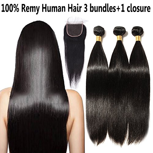 100% 6A Brazilian Virgin Human Hair Weft Extensions Body Wave 14 16 18 Inches 3 Bundles Mixed Length + 14'' Long Lace Frontal Closure with Baby Hair 4x4 Free Part - Next Tracking Delivery Day