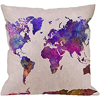 HGOD DESIGNS Map Decorative Throw Pillow Cover Case,Watercolor World Map Cotton Linen Outdoor Pillow cases Square Standard Cushion Covers For Sofa Couch Bed 18x18 inch Pureple