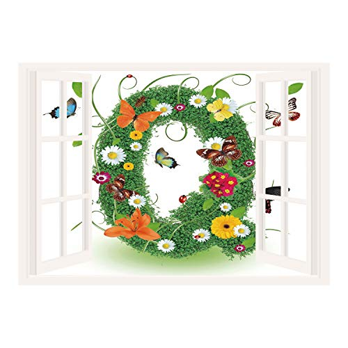 Letters Wall Toile - SCOCICI Window Mural Wall Sticker/Letter Q,Summer Alphabet with Herbs Chamomiles Swirling Leaves Fragrance Themed Symbols Decorative,Multicolor/Wall Sticker Mural