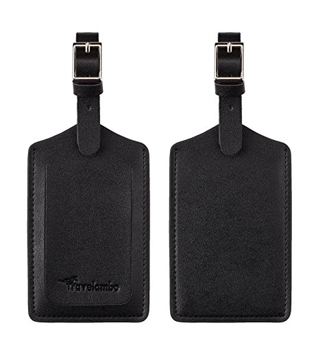 Travelambo Leather Luggage Bag Tags (Black 4001- Classic Black)