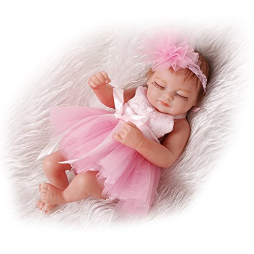 Nicery Reborn Baby Doll Hard Simulation Silicone Vinyl 10inch 26cm Waterproof Bathe Toy Gift Flower Pink Girl Eyes Close Mohair