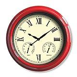 Poolmaster 52559 18'' Clock/Thermometer/Hygrometer - Red
