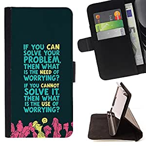 Jordan Colourful Shop - worrying problem solving life quote motivation For Samsung Galaxy S4 IV I9500 - < Leather Case Absorci????n cubierta de la caja de alto impacto > -