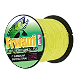 Frwanf Braided Fishing Line 8 Strands Super Strong PE Fishing String ExtremePower Fishing Braid Line for Saltwater and Fresh Water 200 LB Test 500M Yellow