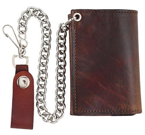 RFID Blocking Men's Tri-fold Vintage Cow Top Grain Leather Steel Chain Wallet,Made In USA,Snap closure,antique brown,at322-46 (Antique Brown Top Leather)