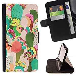 For HTC One M9 Desert Art Painting Watercolor Beautiful Print Wallet Leather Case Cover With Credit Card Slots And Stand Function