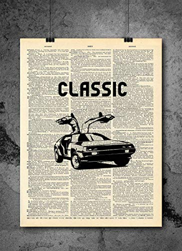 Back to the Future | Classic Dolorean | Vintage Dictionary Print 8x10 Home Vintage Art Prints 80s Retro Wall Art for Home Decor Wall Decorations (Print Only)