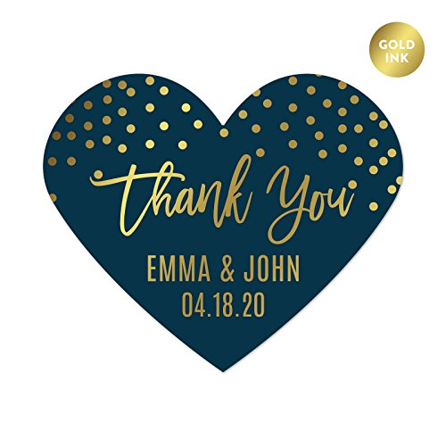 Andaz Press Navy Blue with Gold Metallic Ink Wedding Party Collection, Personalized Heart Label Stickers, Thank You Anna & Steve January 4, 2020, 75-Pack, Custom Names and Date ()