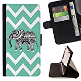 Graphic4You Tribal Elephant Chevron Pattern (Aqua Blue) Thin Wallet Card Holder Leather Case Cover for Sony Xperia XA Ultra