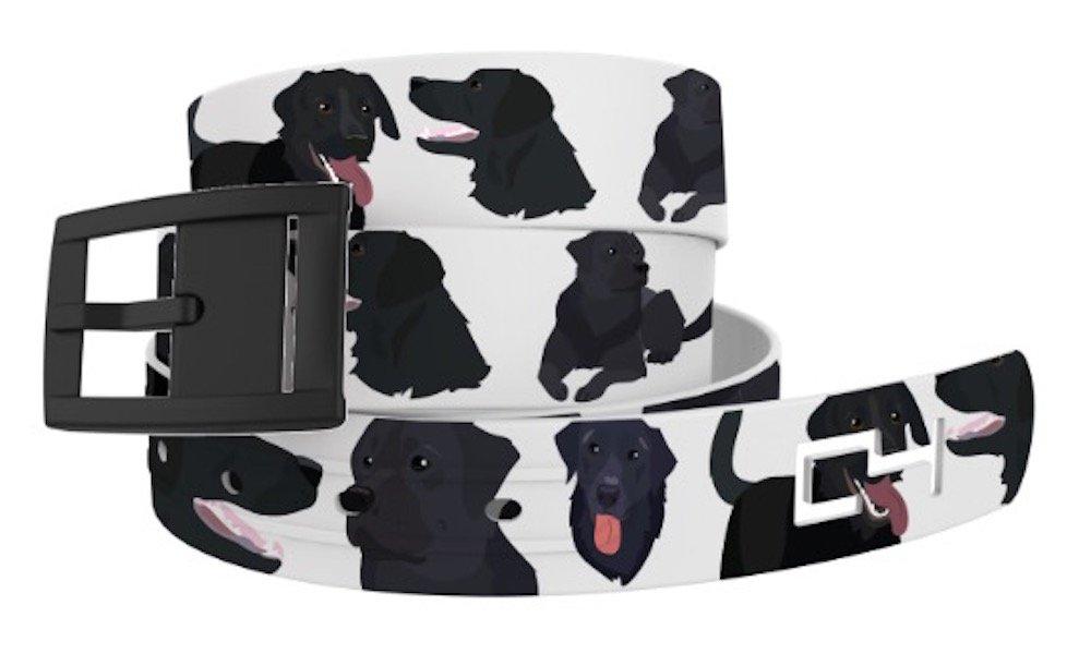 C4 Belts Black Lab Dog Classic Belt with Black Buckle. A Great Gift! - Fashion Belt For Dog Lovers - Waist Belt for Women and Men