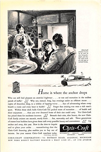 Print Ad 1931 Chris-Craft Home is where the anchor drops