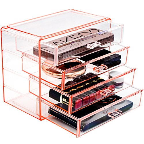 Sorbus Acrylic Cosmetics Makeup and Jewelry Storage Case Display- 4 Large Drawers Space- Saving, Stylish Acrylic Bathroom Case Great for Lipstick, Nail Polish, Brushes, Jewelry and More (Pink)