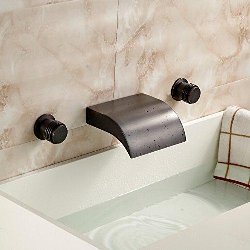 5151buyworld Top Qualität Wasserhahn oil-rubbed Bronze Wand montiert Waschbecken Wasserhahn Dual Griffe Messing Drei Loch Wasserfall Mixer tapfor Badezimmer Küche Home Gaden (begriffsklärung)