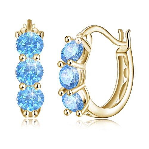 - Vogzone Sterling Silver Round Filigree Huggie Hoop Earrings with Zirconia for Women Girls