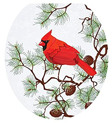 Toilet Tattoos, Toilet Seat Cover Decal, Winter Cardinal, Size Round/Standard